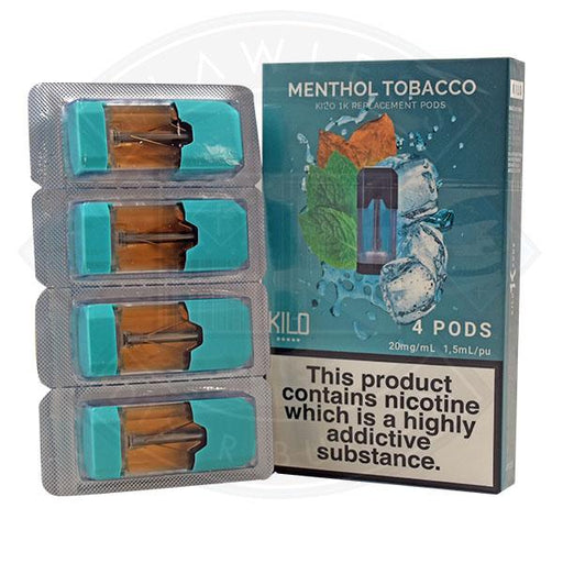 Kilo 1K Replacement Menthol Tobacco 20mg 4pods/pack