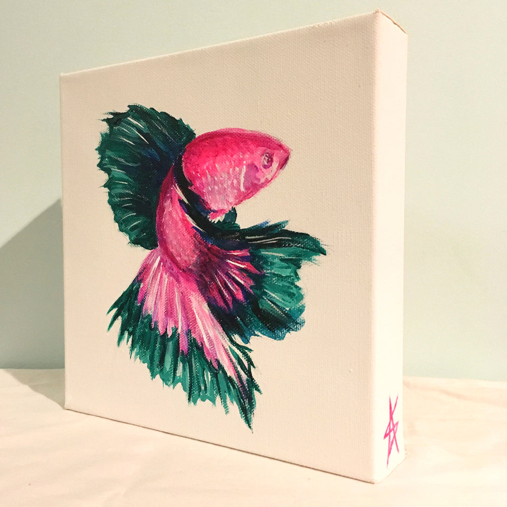 Pink-Teal Fish Painting