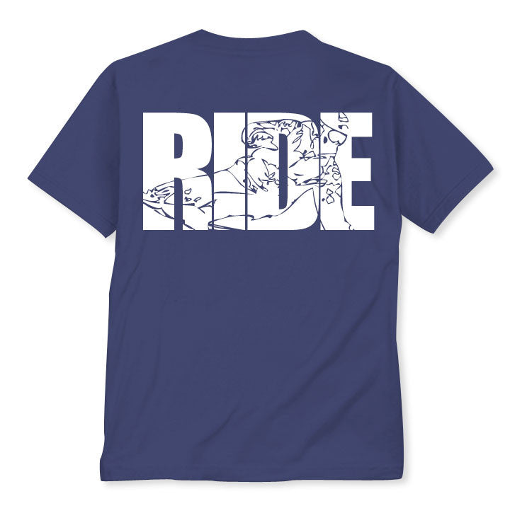 Ride white on blue