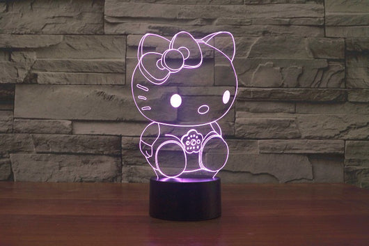 3D 7 Color Hello Kitty Illusion Lamp V1