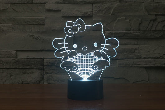3D 7 Color Hello Kitty Illusion Lamp V2 with Remote Control