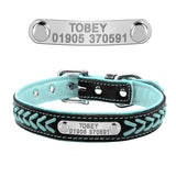 Personalized Embroidered Leather Dog Collar With Custom Name Tags!