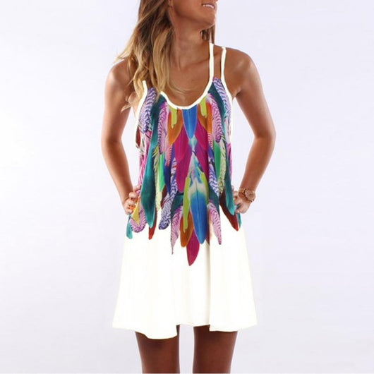 Boho Feathered Summer Dress