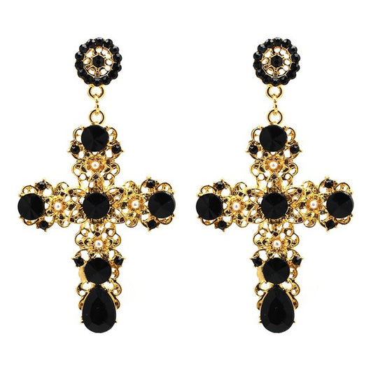 Over-sized Jeweled Cross Drop Earrings