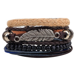 The Tribal Feather Wrist Band 4 Layered Set