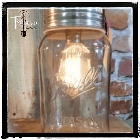 Ball Mason jar lamp by Twisted Lighting