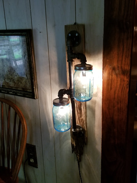 Double Mason Jar wall lamp - Twisted Lighting