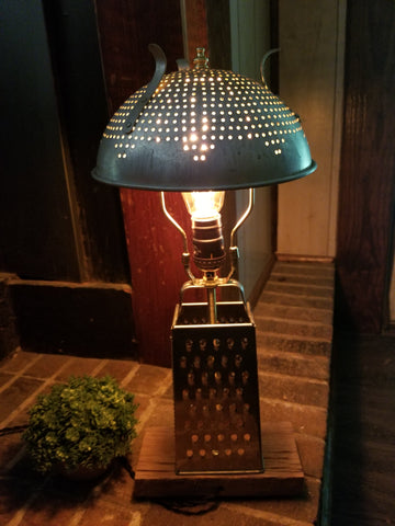 Cheese grater lamp with colander shade