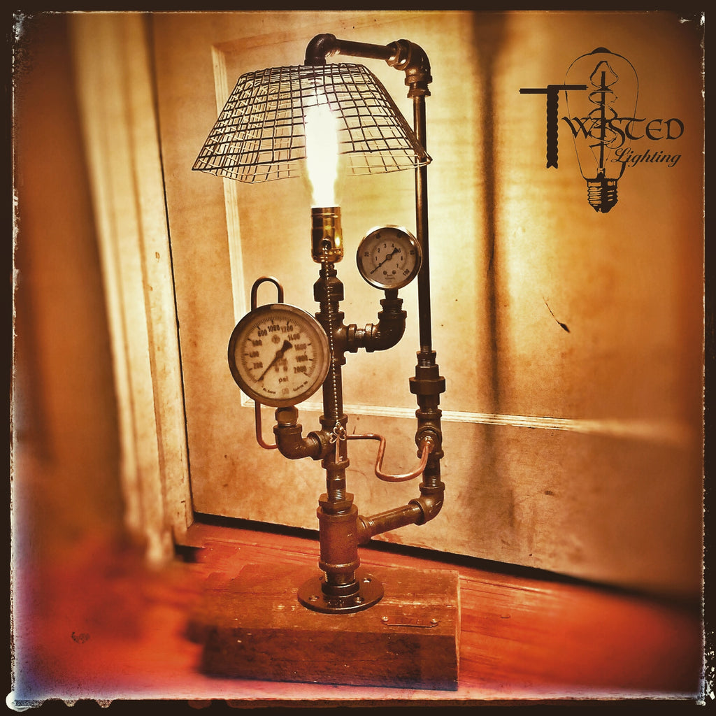 Wire bakery shade steampunk lamp - Twisted Lighting
