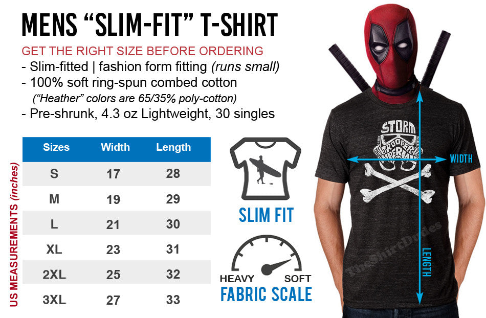 Adult mens t-shirt size chart
