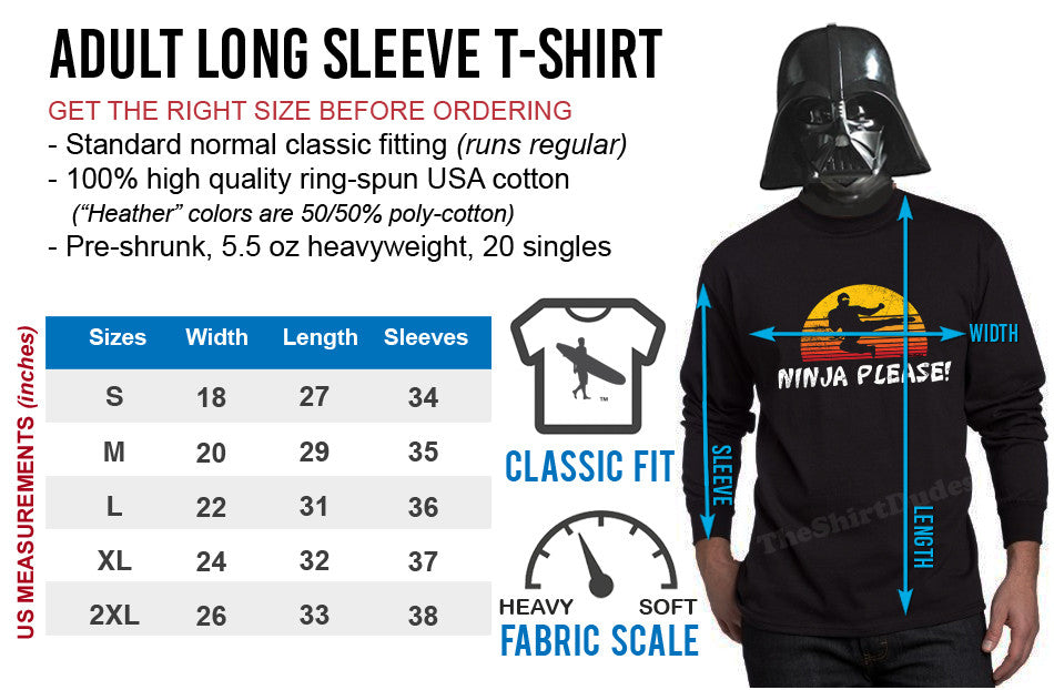 Long Sleeve T-Shirt Size Chart
