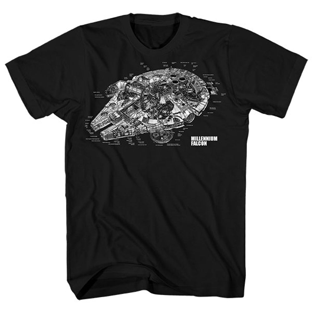 Millennium Falcon Blueprint Diagram T-Shirt