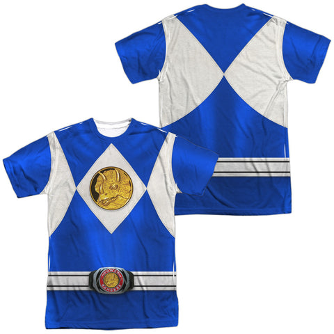 Power Rangers Blue Costume Uniform Sublimation t-shirt