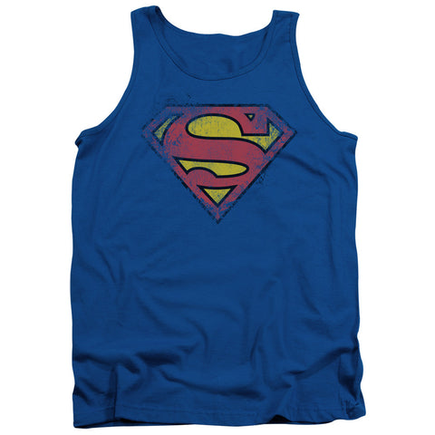 Superman - Chest Classic Logo Distressed BLUE t-shirt