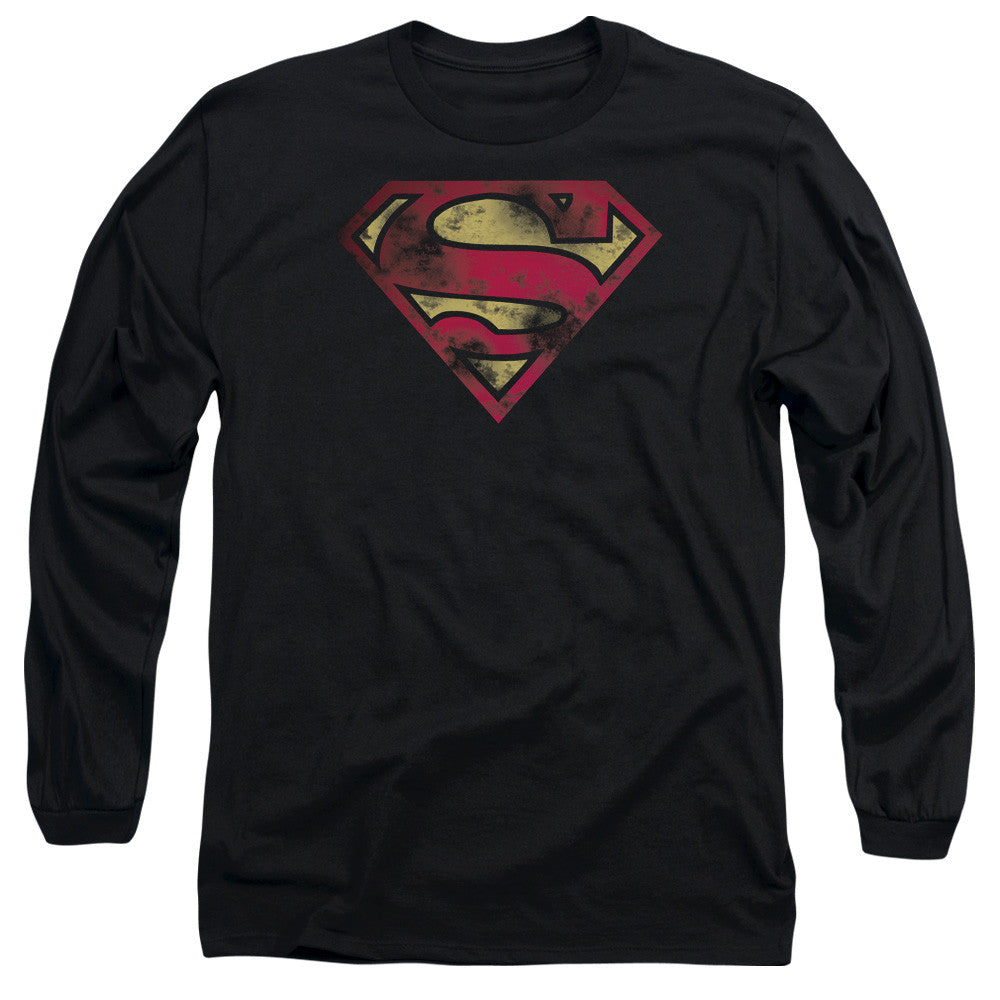 Superman - Chest Classic Logo Distressed BLACK t-shirt