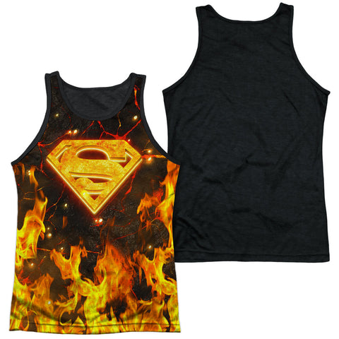 Superman Fire Flame Logo Shield Sublimation Tank Top