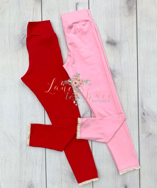 Pink & Red Lace Legging