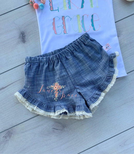 Lucy Shorts - Denim & Lace