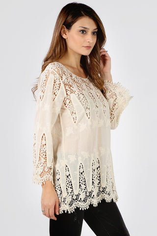 8659 Taupe Abstract Crochet Design Tunic