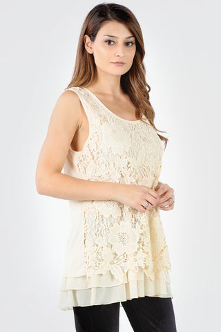 7151 Natural Floral Crochet Layered Tank