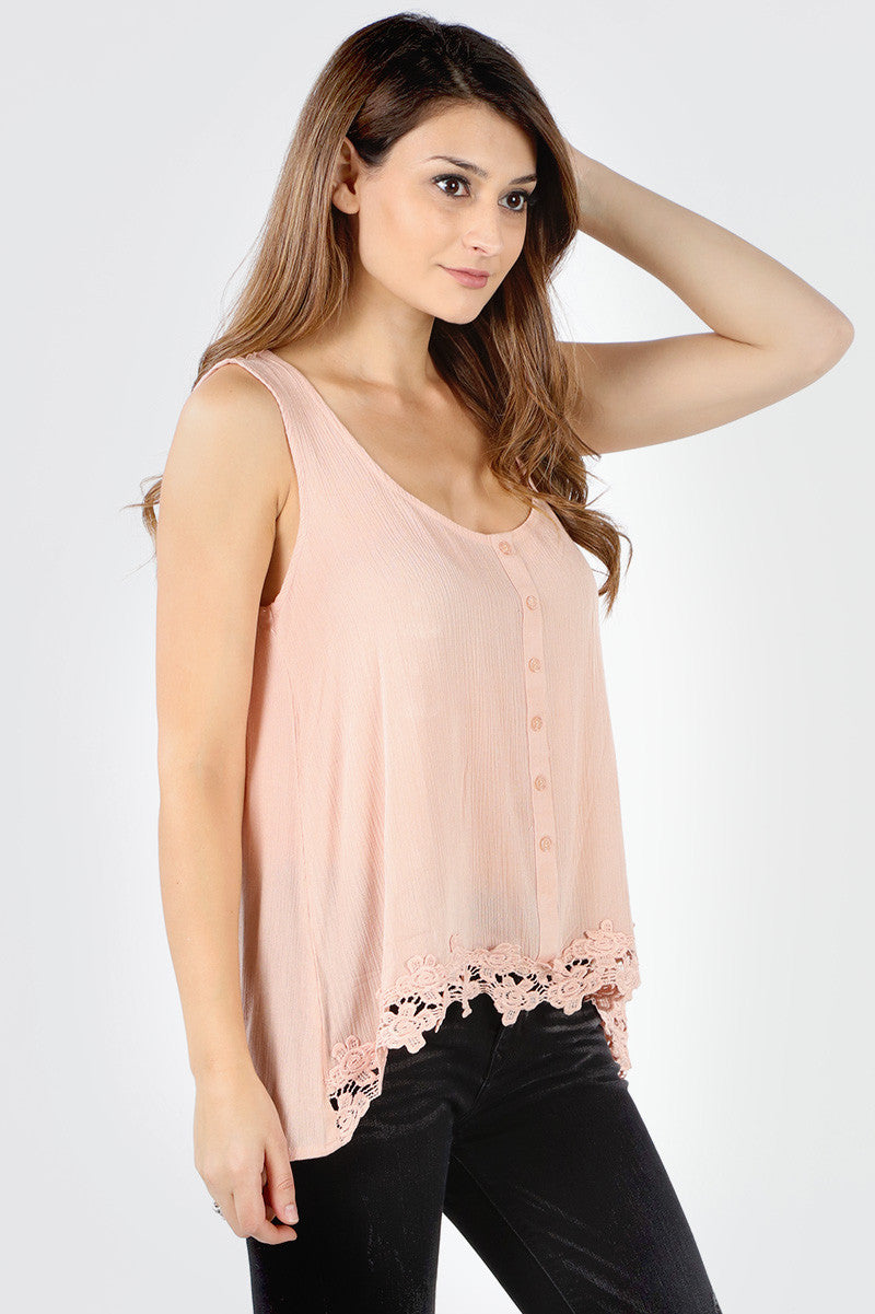 SB267 Blush Button Down Crochet Hem Tank