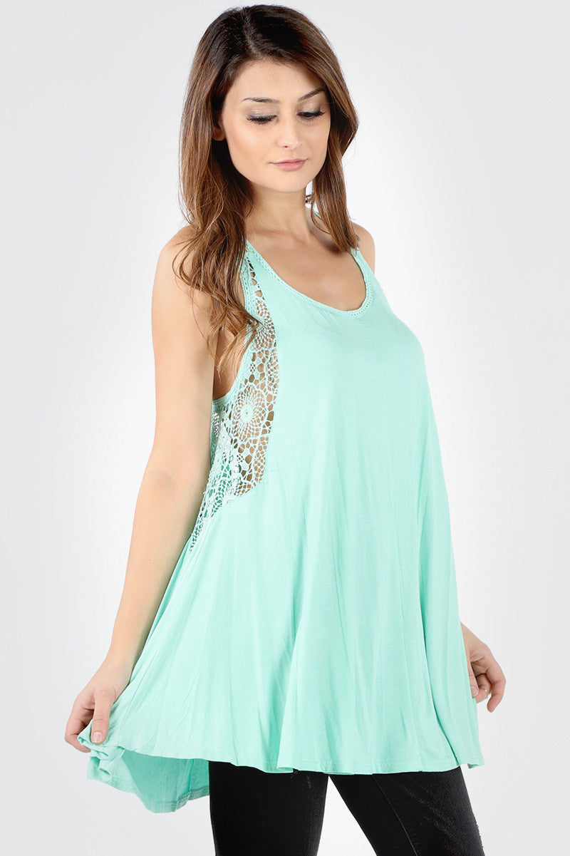 8431 Mint Crochet Inset Long Tank