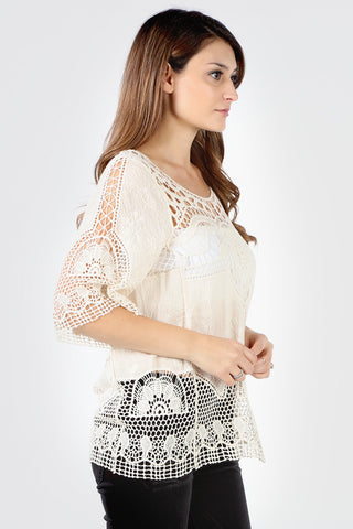 SB131A Natural Unique Crochet Design Blouse