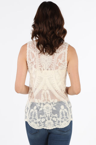 1634-2X Plus Natural Lace Embroidered Blouse