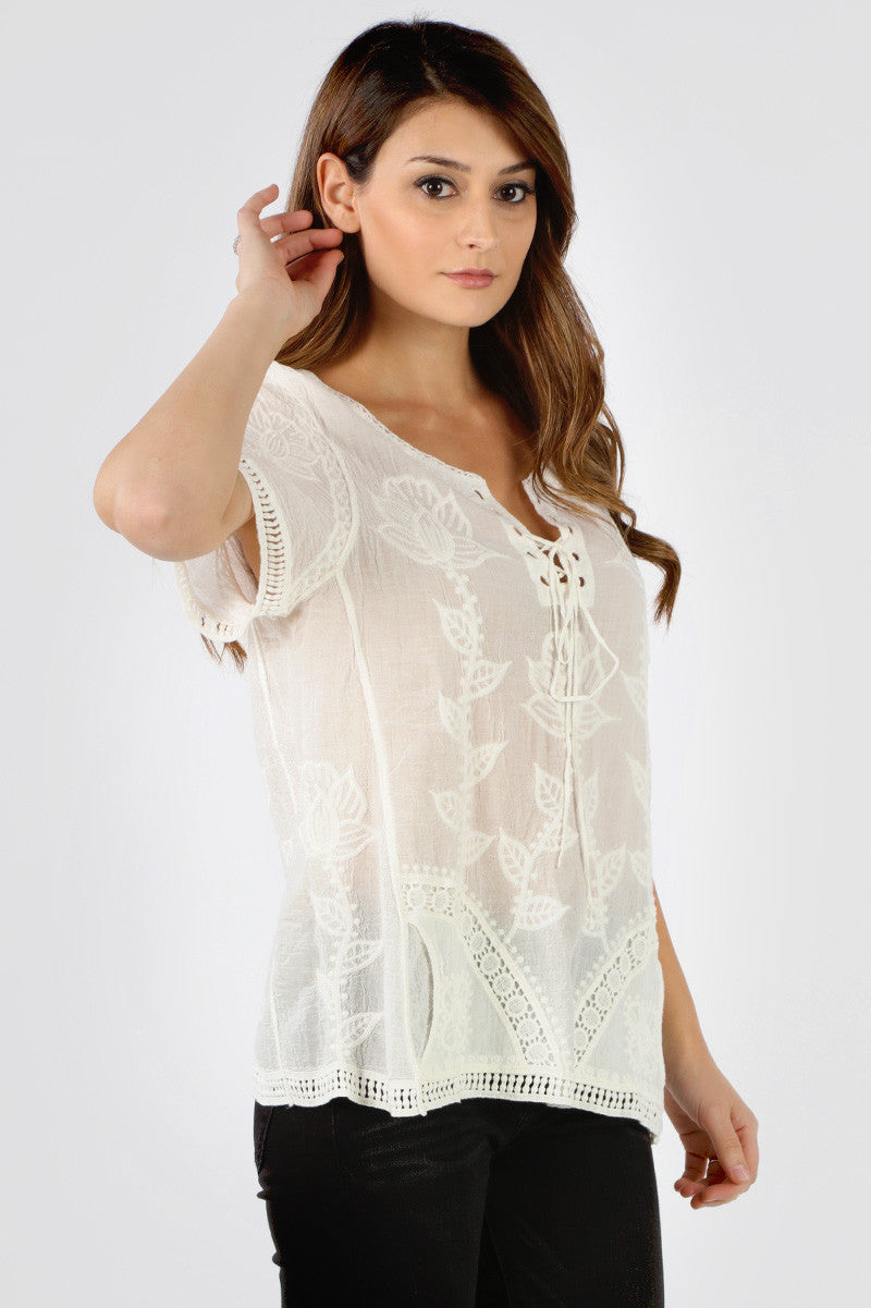 YSX510 Natural Lace Up Embroidered Top