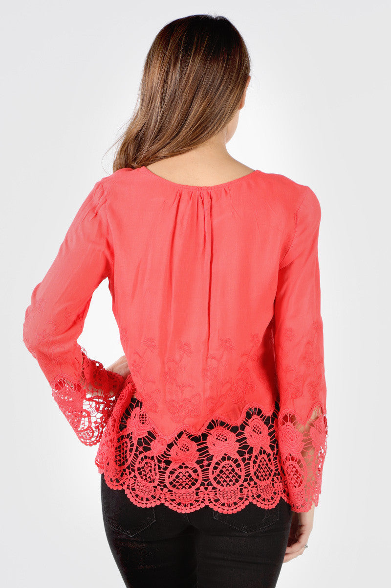 FG539 Coral Floral Embroidered Crochet Blouse