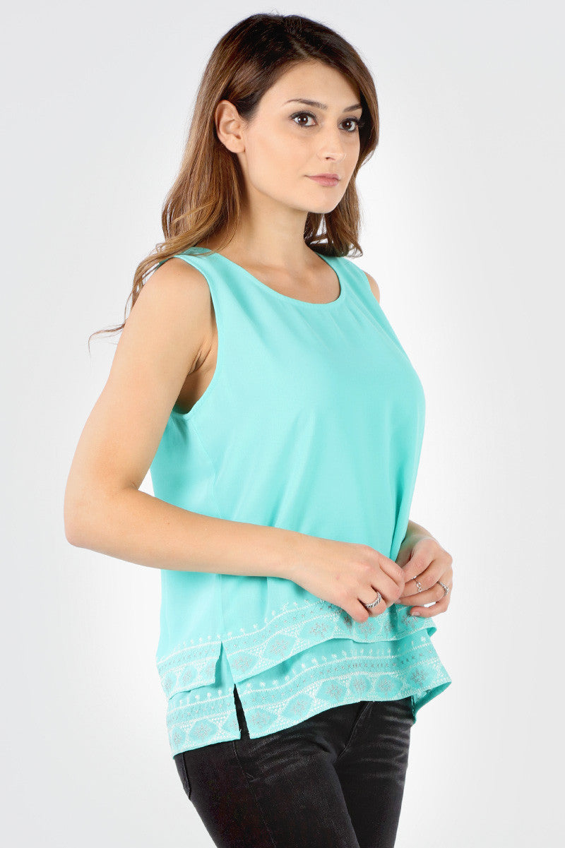 SB292 Mint Embroidered Hem Tank