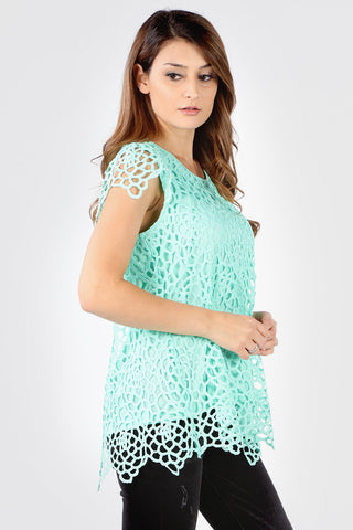 7154SX Plus MInt Abstract Crochet Top