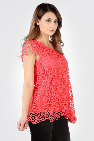 7154SX Plus Coral Abstract Crochet Top