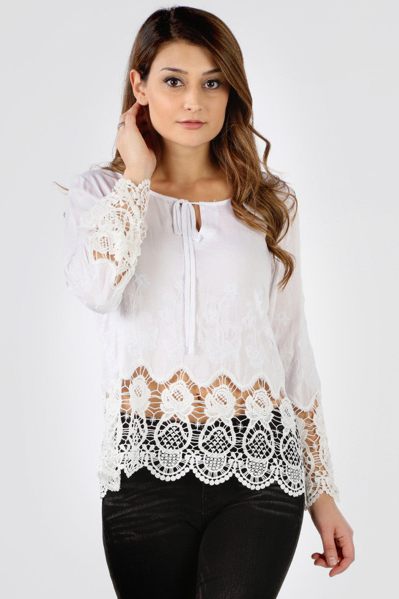 Ivory Floral Crochet Cut Out Blouse
