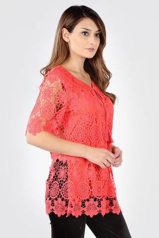 Plus Coral Front Lined Floral Crochet Blouse *Coral