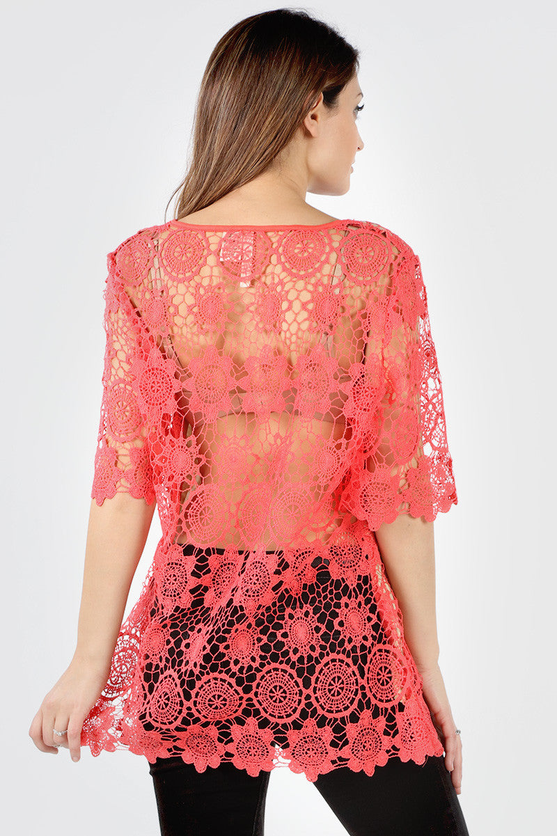 SLC611X Plus Coral Front Lined Floral Crochet Blouse *Taupe