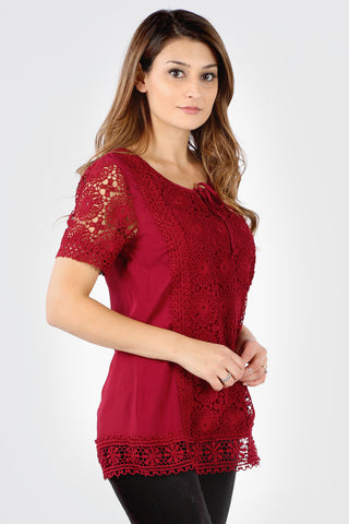 SB192 Burgundy Tie Crochet Blouse