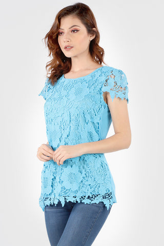 Soft Blue Floral Crochet Short Sleeve Top