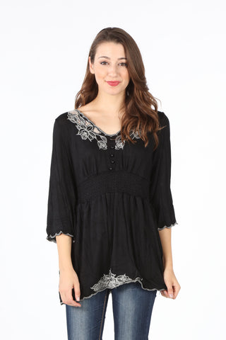 7377-34 Black Embroidered Smocked Waist Tunic