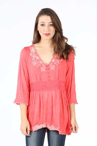 7377-34 Coral Embroidered Smocked Waist Tunic