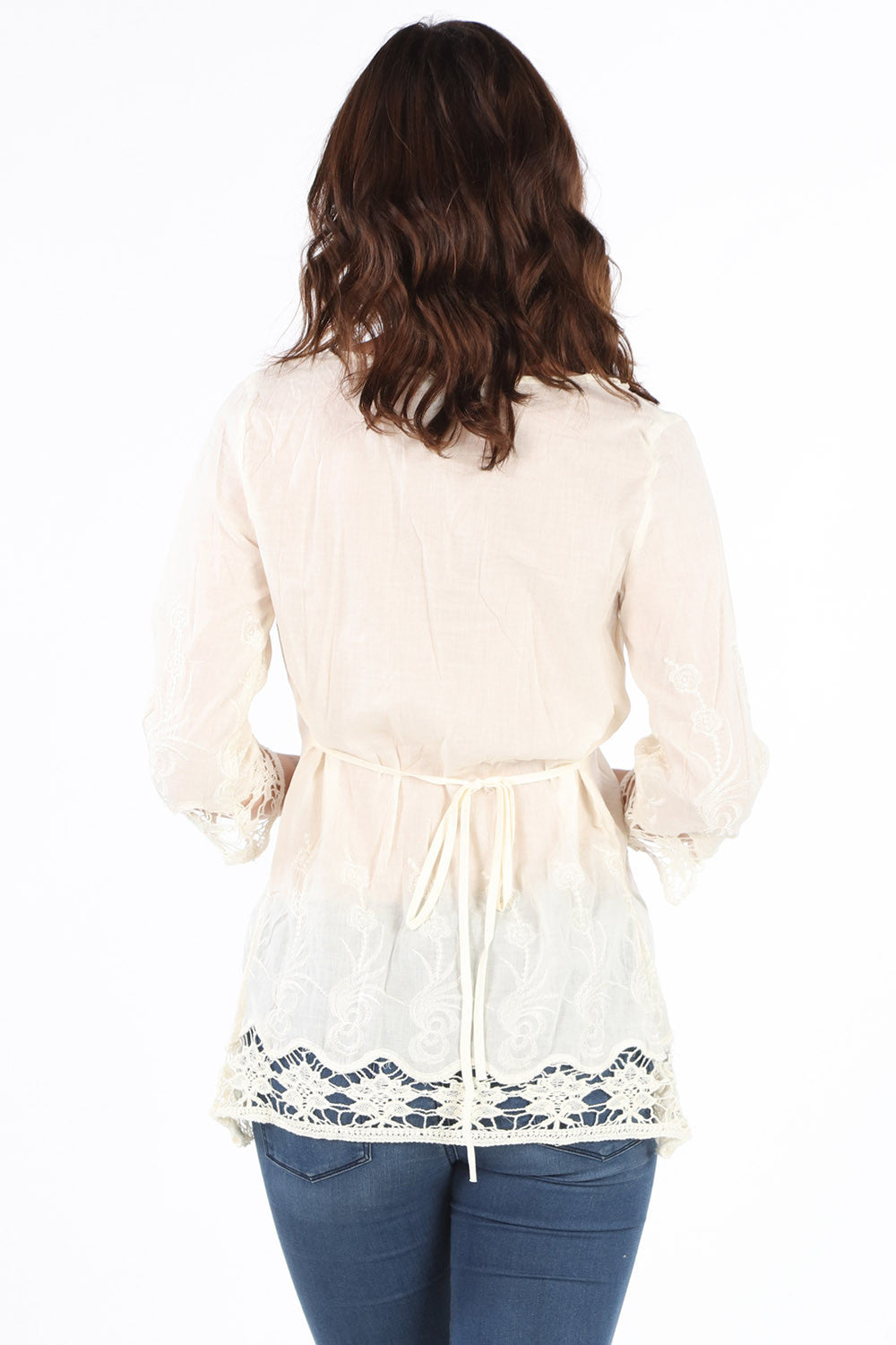 7487 Ivory Embroidered and Crochet Tunic