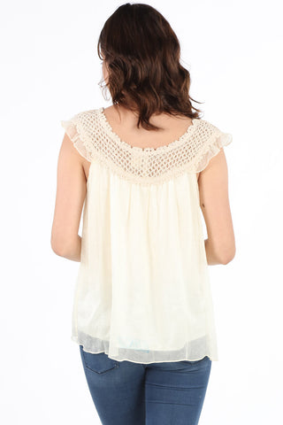 7547 Natural Crochet Baby Doll Blouse