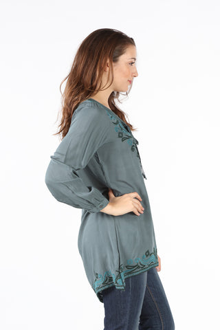 7983 Green Soutache Tie-Yoke Sidetail Top