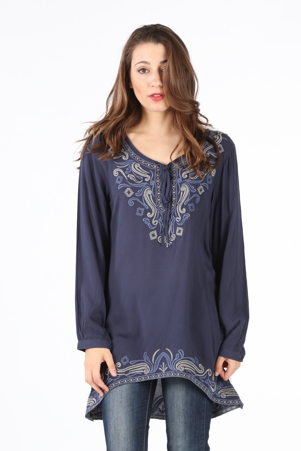7983 Navy Soutache Tie-Yoke Sidetail Top