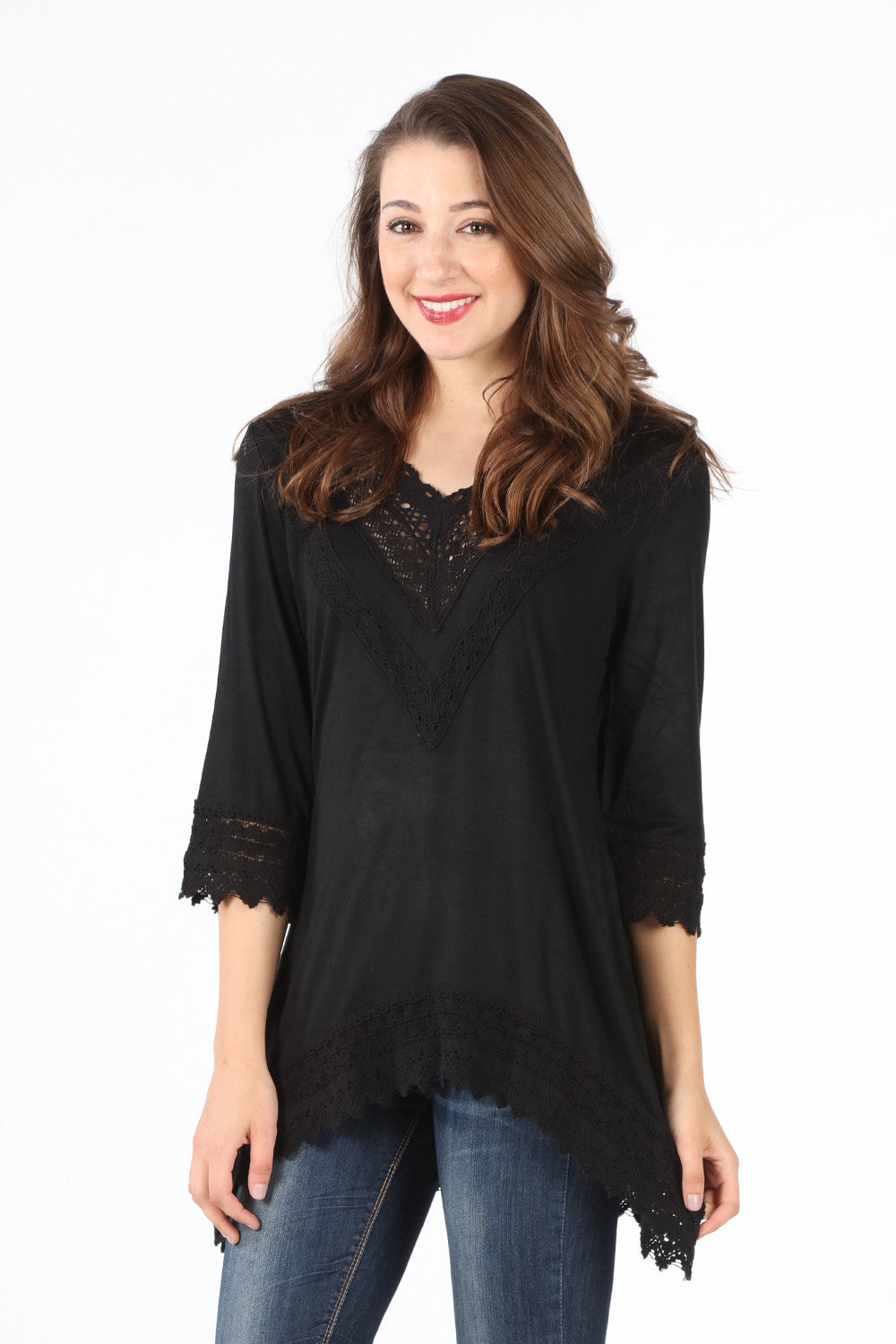 8052K Black Crochet V-Neck Tunic