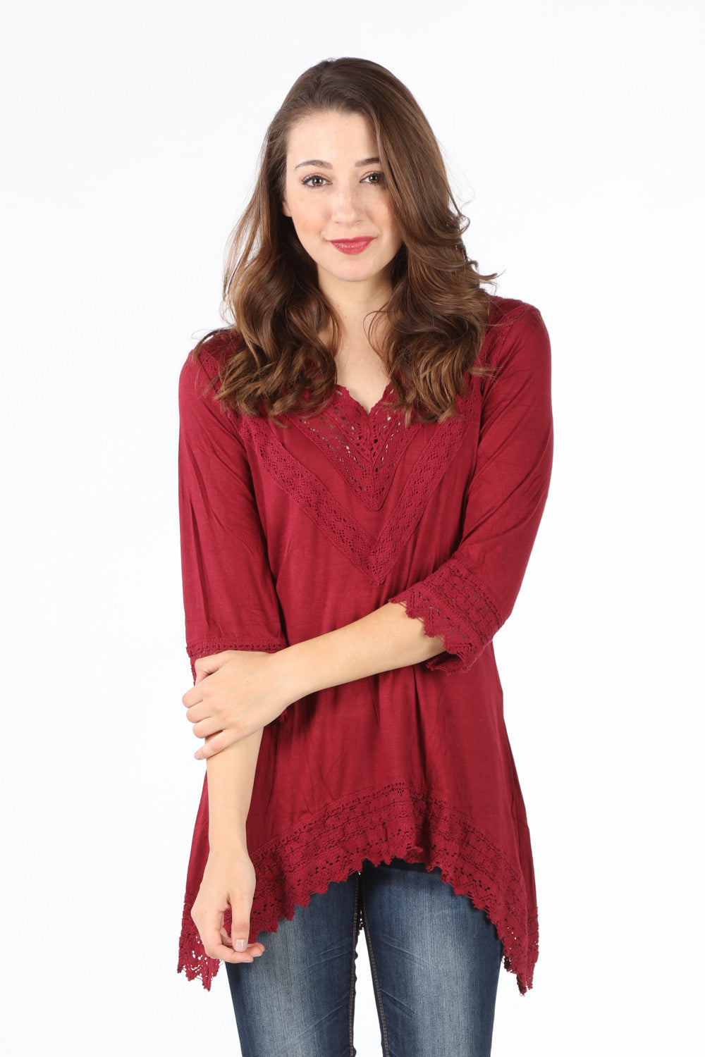 8052K Burgundy Crochet V-Neck Tunic