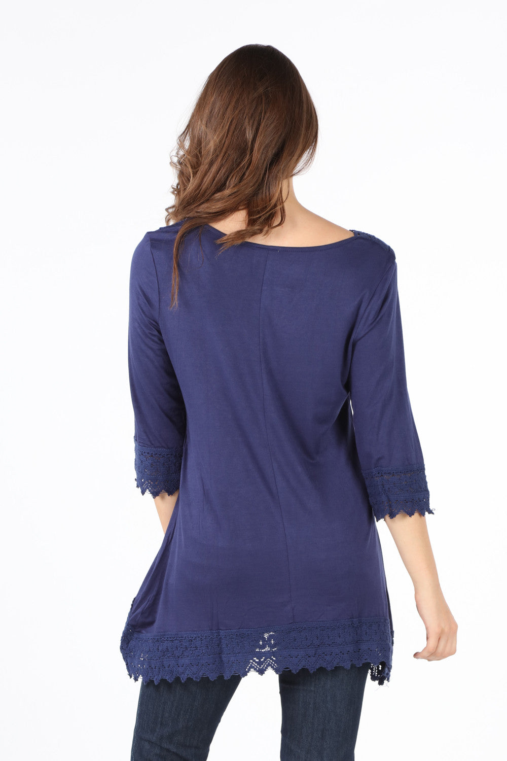 8052K Navy Crochet V-Neck Tunic