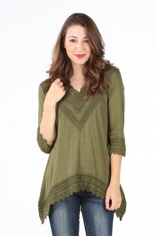 8052K Olive Crochet V-Neck Tunic