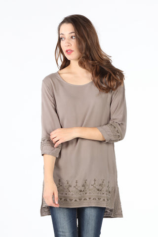 8060 Taupe Embroidered Tunic