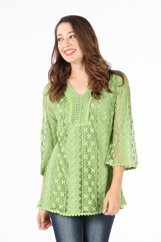 8137 Green Fully Lined Lace Blouse with Studs
